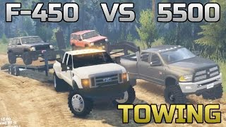 SPIN TIRES | TOWING CHALLENGE | CUMMINS VS POWERSTOKE