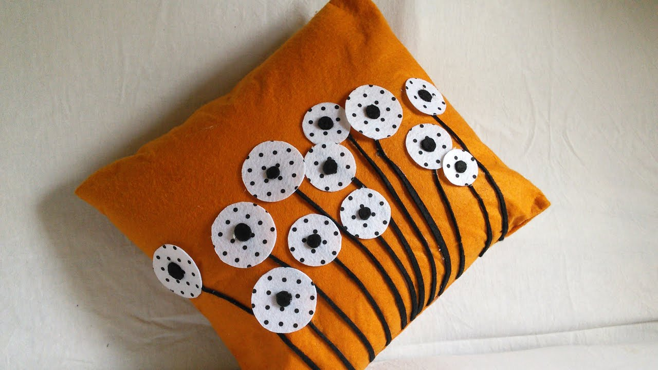 Make Easy Decorative Pillow Cover : DIY Home Decor Cushion Cover Making Felted Pillow Cases HandiWorks #55 - YouTube