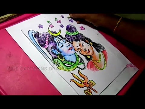 How To Draw Lord Shiva And Goddess Parvati Drawing Step By Step Youtube