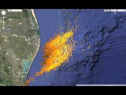 Lightning strikes in Gulf of Mexico 2015.04.14.