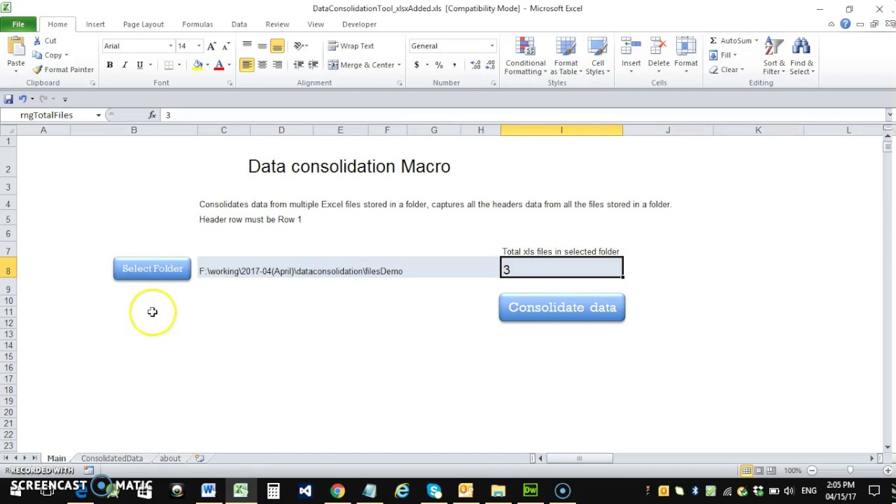 Workbooks macro to combine worksheets : Macro to consolidate data from all excel files in a folder - YouTube