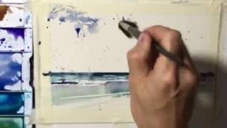 How to paint Ocean Shore Waves in Juicy Watercolors: by Chris Petri