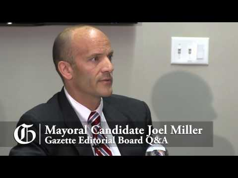 Colorado Springs mayoral candidate Joel Miller meets with the Gazette Editorial Board