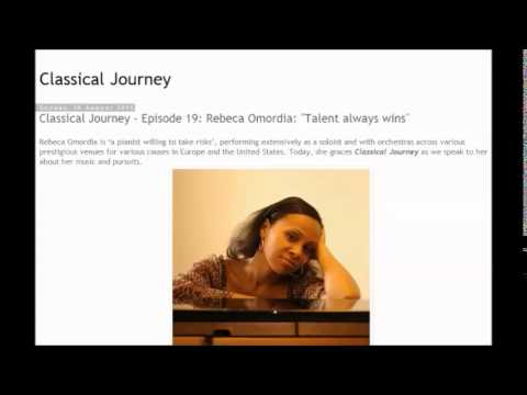 Classical Journey ep. 19 Radio One 103.5FM Nigeria with pianist Rebeca Omordia