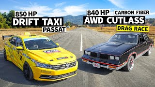 AWD Swapped, Procharged V8 Cutlass vs. Tanner Foust's 850hp Drift Taxi // This vs. That