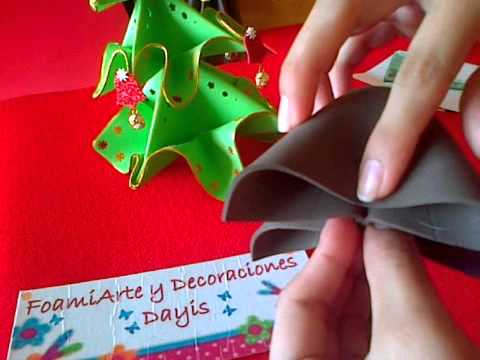 Arbolito De Navidad En Foami O Goma Eva Utilizando Tecnica De