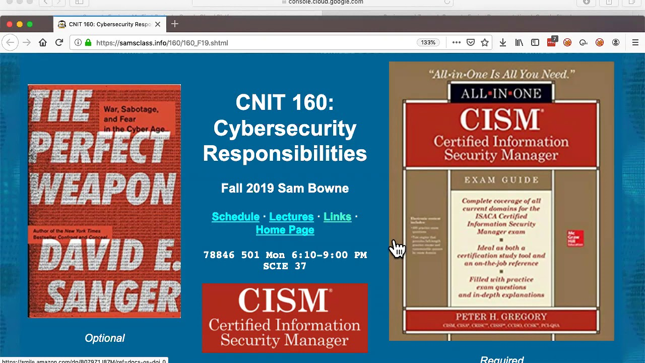 CNIT 160: Cybersecurity Responsibilities
