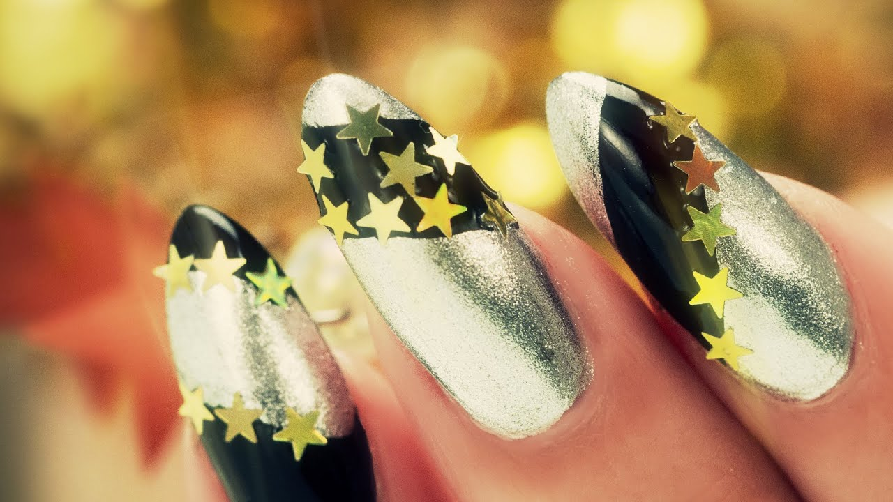 New Years Nail Art - Black and Silver with Gold Stars - YouTube