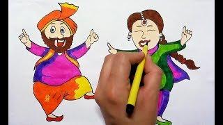 Baisakhi festival dance drawing    how to draw baisakhi celebration