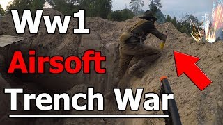 INTENSE WW1 Airsoft Trench War! WITH FIREWORKS!