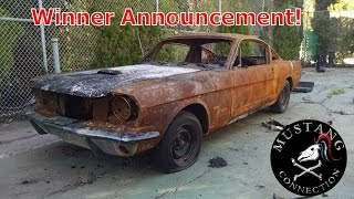 Revealed ! Asking and Selling Price 1965 Mustang Burned Out Contest Winner ! Plus New Giveaway!
