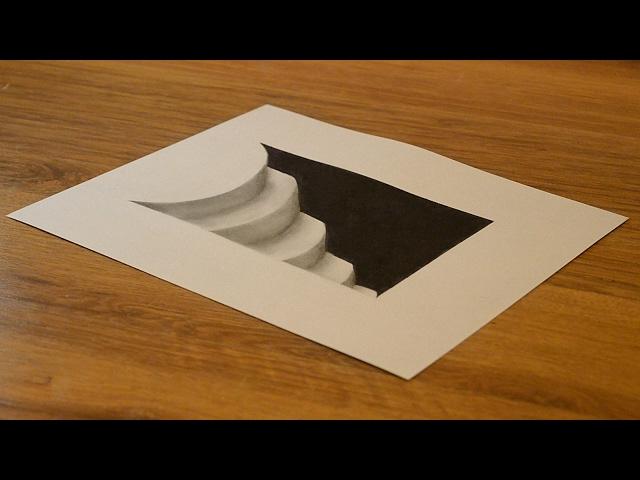 Как нарисовать 3D Рисунок Вход в Подземелье Лестница 3D