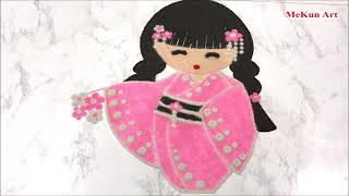 Small, Creative Rangoli Design With Doll Nhat Ban-MeKun Art