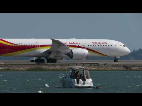 Hainan Airlines Boeing 787-9 Taxi In At Boston Logan International Airport [HD] - August 21, 2016