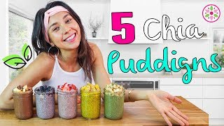 5 CHIA PUDDINGS FOR BREAKFAST! Easy & Vegan😋Rawvana
