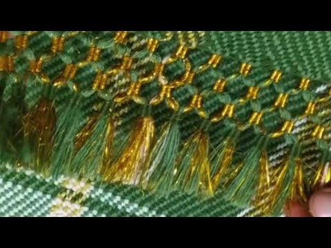 Çeyizlik etamin kumaş üzerine işlemeli kaneviçeli seccade ve havlu kenarı modelleri