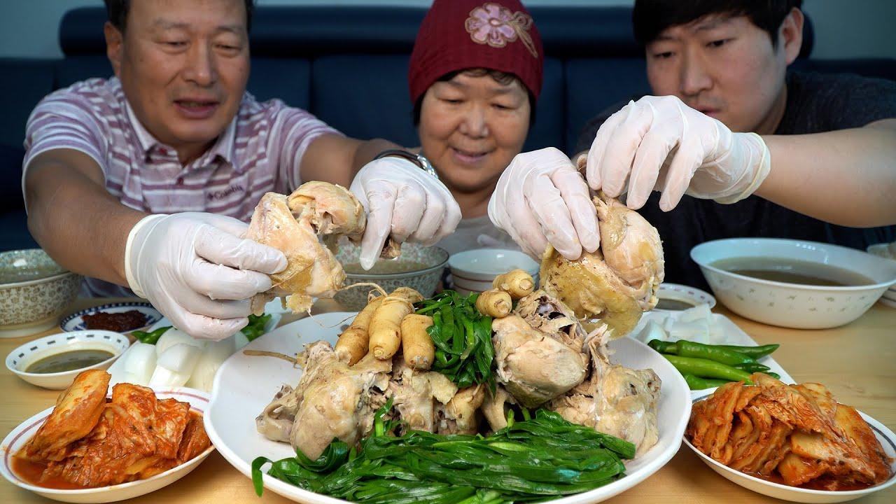 중복을 맞아 가마솥에 푹 끓인 삼계탕 먹방! (Samgyetang, chicken soup with ginseng) 요리&먹방!! - Mukbang eating show