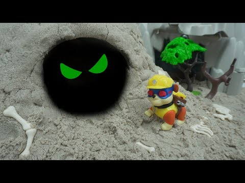 Paw Patrol saw the monster in the cave. RUBBLE, CHASE, SKYE be careful