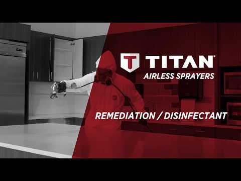 Applying Disinfectant Solution With A Titan Airless Sprayer.