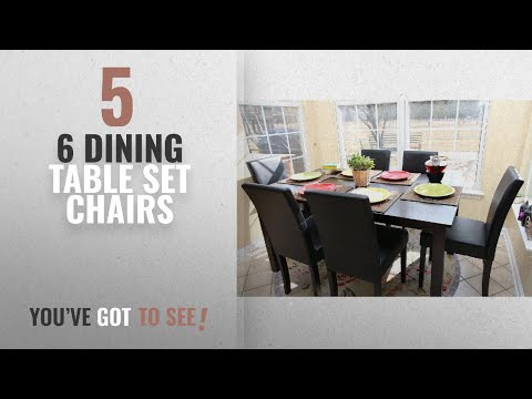 Top 10 Chairs 6 Dining Table Set [2018]: 7 pc Espresso Leather Brown 6 Person Table and Chairs Brown