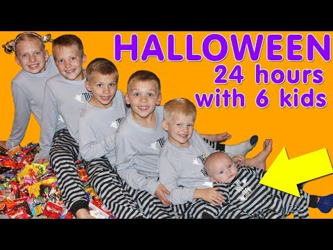 24 Hour With 6 Kids on Halloween!! Family Fun Pack Halloween Special