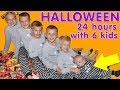 24 Hour With 6 Kids on Halloween!! Family Fun Pack Halloween Special 🎃