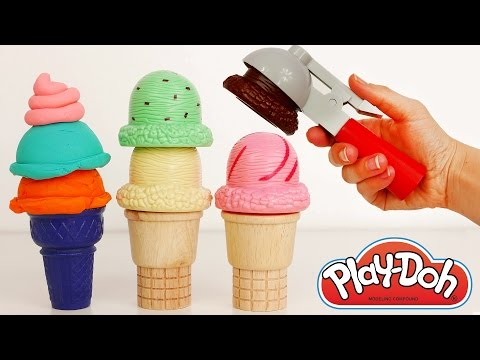Play Doh Ice Cream Popsicle and Cone Playset for Kids
