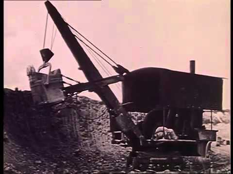 Old video of a steam navvy or steam shovel
