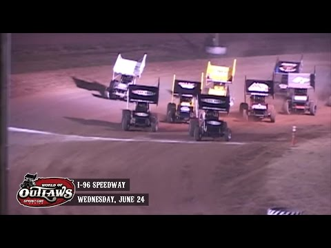 Highlights: World of Outlaws Sprint Cars I-96 Speedway June 24th, 2015