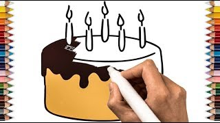 How to Draw Birthday cake in colore page design Art Colours for Kids