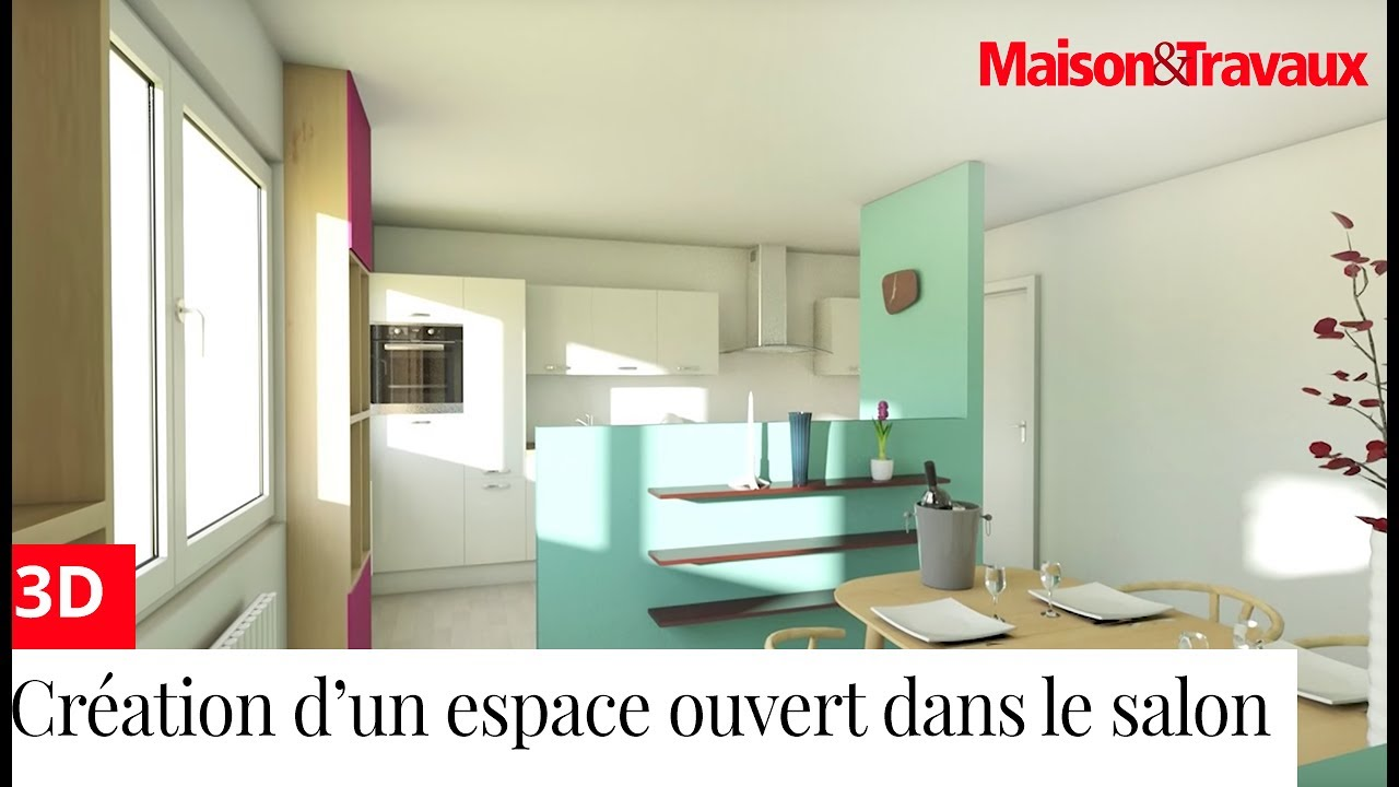 cr er un espace ouvert cuisine salon salle manger dans un appartement en longueur youtube. Black Bedroom Furniture Sets. Home Design Ideas