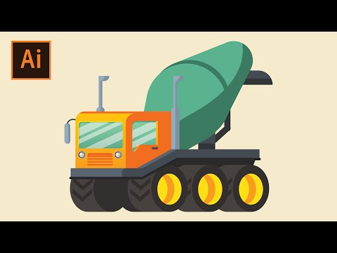 Flat Design Concrete Mixer tutorial in Illustrator thumbnail