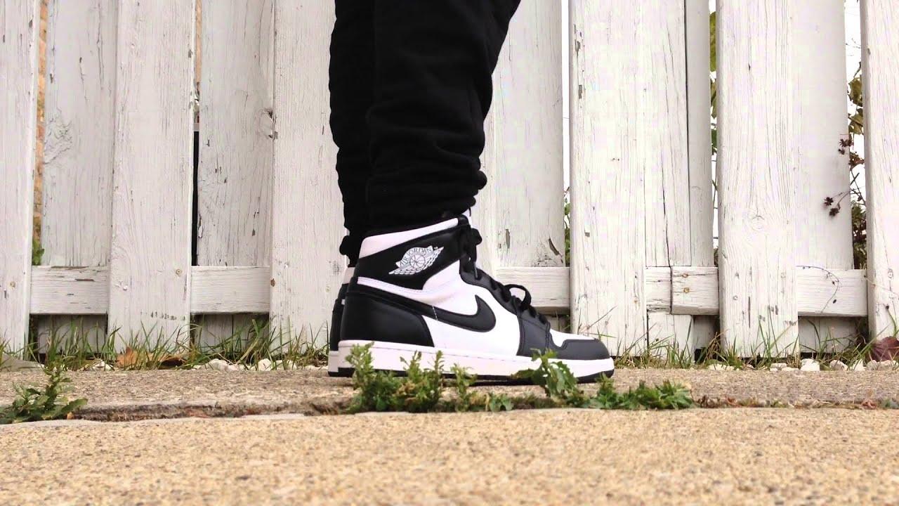 air jordan 1 og black and white on feet