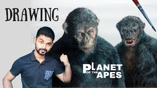 Drawing Caesar and Koba - Planet of the Apes