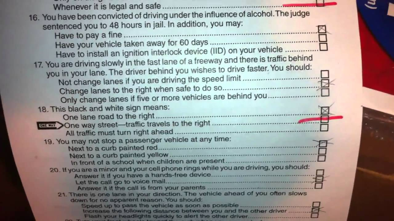 drivers ed test answers california