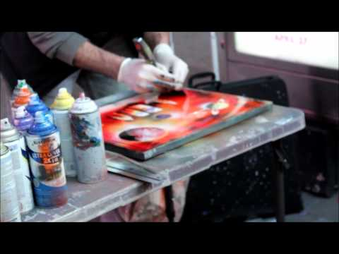 TIMES SQUARE STREETS SPRAY PAINT ARTISTS AT NYC BY DJ. RICARDO 516-9673993