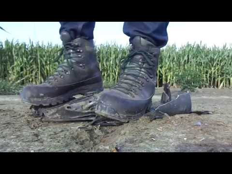 Lowa Hiking Boots, stomp trample and destroy car mirror