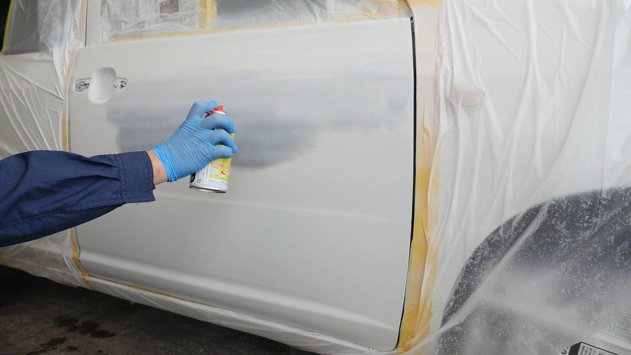 缶スプレー塗料がタレて失敗を修正して再塗装。ドア凹みをソフト99補修用品で直す【プロボックス】