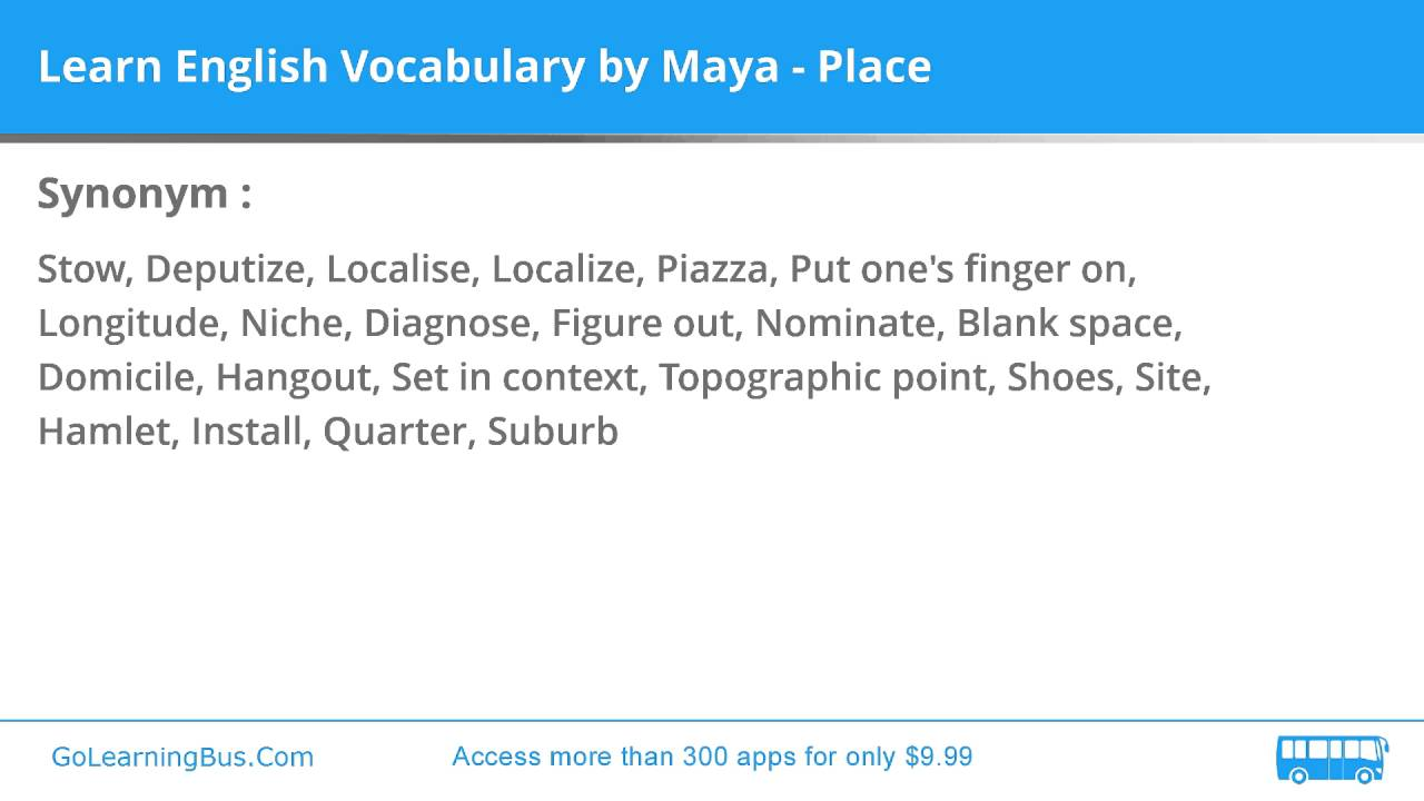 Learn English Vocabulary By Maya Place Youtube