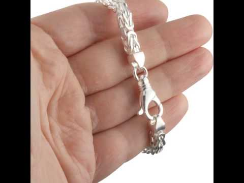 Men's Square Byzantine Silver Bracelet