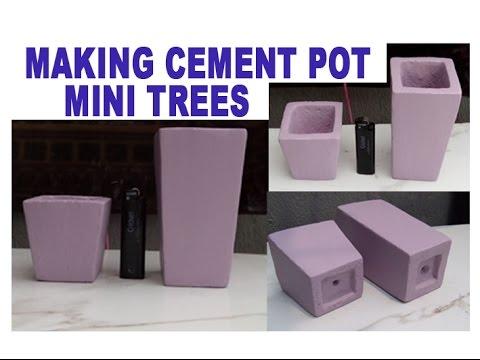 Making Cement Pot, Mini Trees