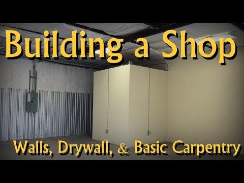 Building an Office in My Woodworking Shop (walls, drywall, mudding, paint)