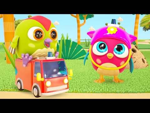 A toy fire truck for kids. Cartoons for babies in English. Hop Hop the Owl & baby toys.  