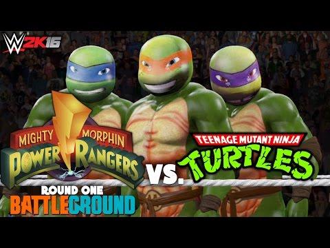 WWE 2K16 Universe Mode   Show Fourteen - Match One   Power Rangers Vs. Ninja Turtles