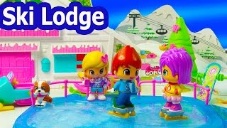 Christmas Winter Holiday Ski Lodge Playset Pinypon Frozen Water Ice Skating Ski Snowman Cookieswirlc