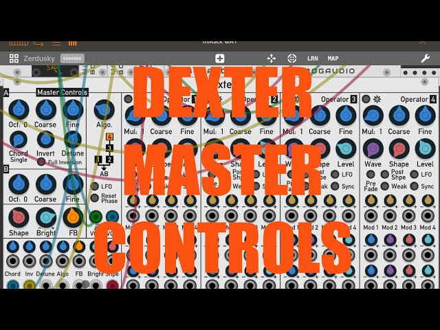 miRack AUv3 - Tutorial: Exploring the app Part 7, Dexter: Master Controls