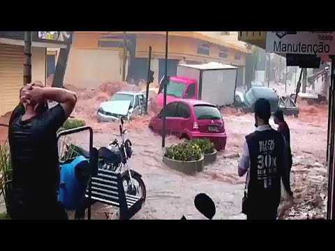 Devastating flood in Sao Carlos, Sao Paulo, Brazil. Flooding in Brazil. Natural Disasters. Weather