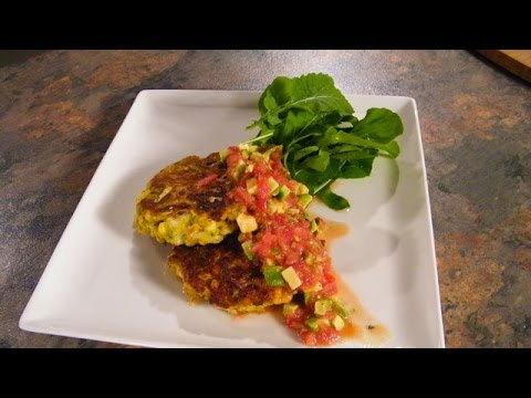 Learn to Cook Vegetarian  Sweet Corn Fritters with Avocado Salad