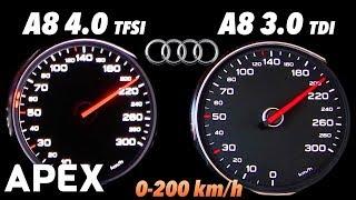 2017 Audi A8 3.0 TDI vs. A8 4.0 TFSI - Acceleration Sound 0-100, 0-200 km/h | APEX