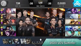 TSM (Bjergsen Twisted Fate) VS C9 (Zven Ashe) Highlights - 2020 LCS Summer W8D3